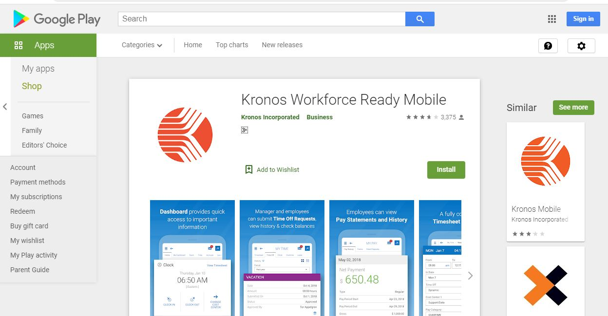 Kronos Workforce Ready Mobile app on Google Play Store